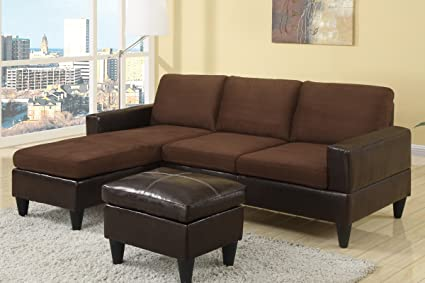 3 pc Chocolate microfiber two tone small space sectional sofa with reversible chaise and leather like vinyl ottoman
