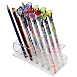 18-Slots Clear Acrylic Paint Brush Display Stand Holder for Colored Pencils, Eyebrow Pencil, Makeup/Nail/Cosmetic Brush, E-Cigarette, Vapor and Pen (Color: Clear, Tamaño: 18-Slot)
