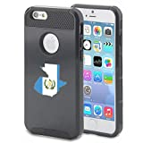 For Apple iPhone 6 6s Shockproof Impact Hard Case Cover Guatemala Guatemalan Flag (Black ) (Color: Black)