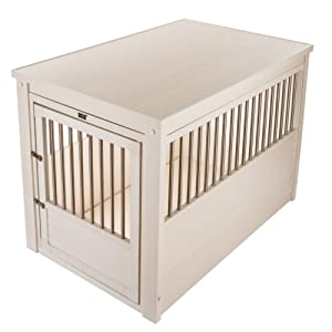 ecoFlex Pet Crate/End Table (Color: Antique White, Tamaño: Small)