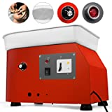 Mophorn Pottery Wheel 25cm Pottery Forming Machine with ABS Basin Electric Pottery Wheel 350W 110V for Ceramic Work Clay Art Craft (Color: Button operation, Tamaño: 25 CM)