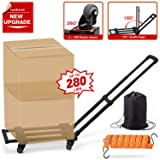 4 Wheels Rotate Folding Hand Truck, 280 lbs/127 Kg Capacity Heavy Duty Folding Luggage Cart with Stretchable Expansion Base, Fold Up Dolly for Luggage/Personal/Travel/Auto/Moving/Office Use
