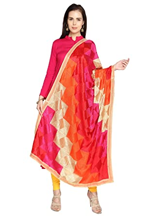 Dupatta Bazaar Women's Multicolouredi Phulkari Embroidery Chiffon Dupatta at amazon
