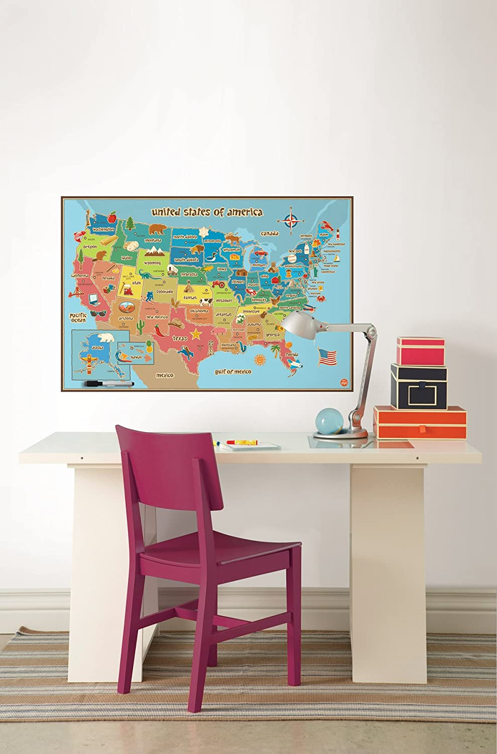 Dry Erase Usa Map Is Fabulous For Kids Decor And Great In A Classroom The Clever Kids Map Design Boasts Bold Colors And Easy To Read State Capitals