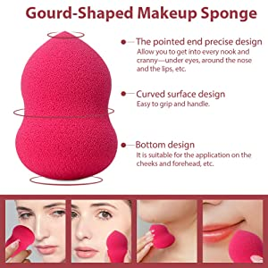 BEAKEY 5 Pcs Makeup Sponge & Pocket Makeup Mirror, Multi-Colored Foundation Blending Sponges Gourd-Shaped, for Applying Liquid Foundation, Cream, Po