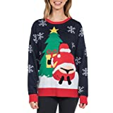 Tipsy Elves Women's Winter Whale Tail Sweater - Funny Santa Ugly Christmas Sweater: X-Large (Color: Blue, Tamaño: X-Large)