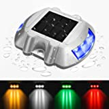 jiguoor Waterproof Solar LED Powered Road Step Light Dock Light with 6 Small LED Bulbs Inside for Outdoor Driveway Deck Garden Ground Path Yard (Color: Blue)