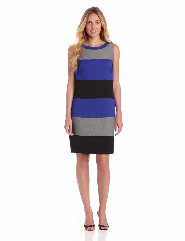 Julian Taylor Womens Sleeveless Colorblock Dress, Blue/Black, 12 Missy