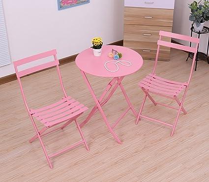 Gartenmöbel-Sets Drei Sätze aus Eisen Tisch und Stuhle / Balkon Outdoor-Kombination Folding-Set / Garten Hof Falten Möbel Tische Stuhle Möbel Sets ( Farbe : A )