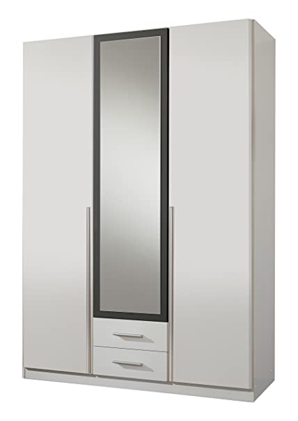 Wimex 153484 Kleiderschrank, 3-turig mit zwei Schubkästen und einer Spiegeltur, Korpus, 135 x 198 x 58 cm, anthrazit