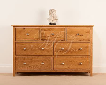 SOLID OAK 3 OVER 4 WIDE CHEST OF DRAWERS