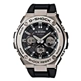 Casio Men's 'G Shock' Quartz Stainless Steel and Resin Casual Watch, Color:Black (Model: GST-S110-1ACR) (Color: Black/Silver)
