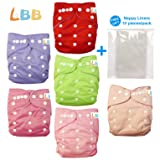 Baby Double Rows of Snaps 6pcs Pack Fitted Pocket Washable Adjustable Cloth Diape£¨Girl Color£6BM88 (Color: AMRed, Tamaño: One Size)