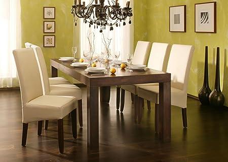 SAM® Esszimmer Tischgruppe Cubus 7tlg Sheesham Holz 1 x Tisch Cubus 7029 in walnuss farben gewachst 6 x Stuhl Valentino 4723-01 in creme kolonial