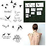 Tattify Quote Temporary Tattoos - Bird is the Word (Set of 18) (Color: Bird is the Word)