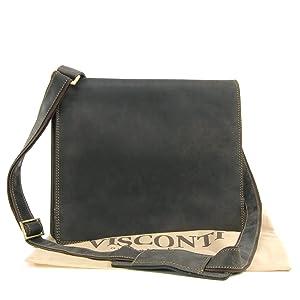 Sac Besace en cuir signé Visconti - gibecière (16025) - Marron Foncé    Commentaires en ligne plus informations