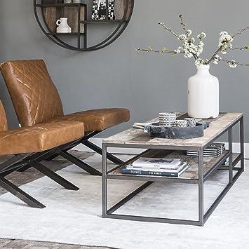 Couchtisch TUAREG 150 x 50 cm Beistelltisch Kaffeetisch Tisch Metall Teakholz