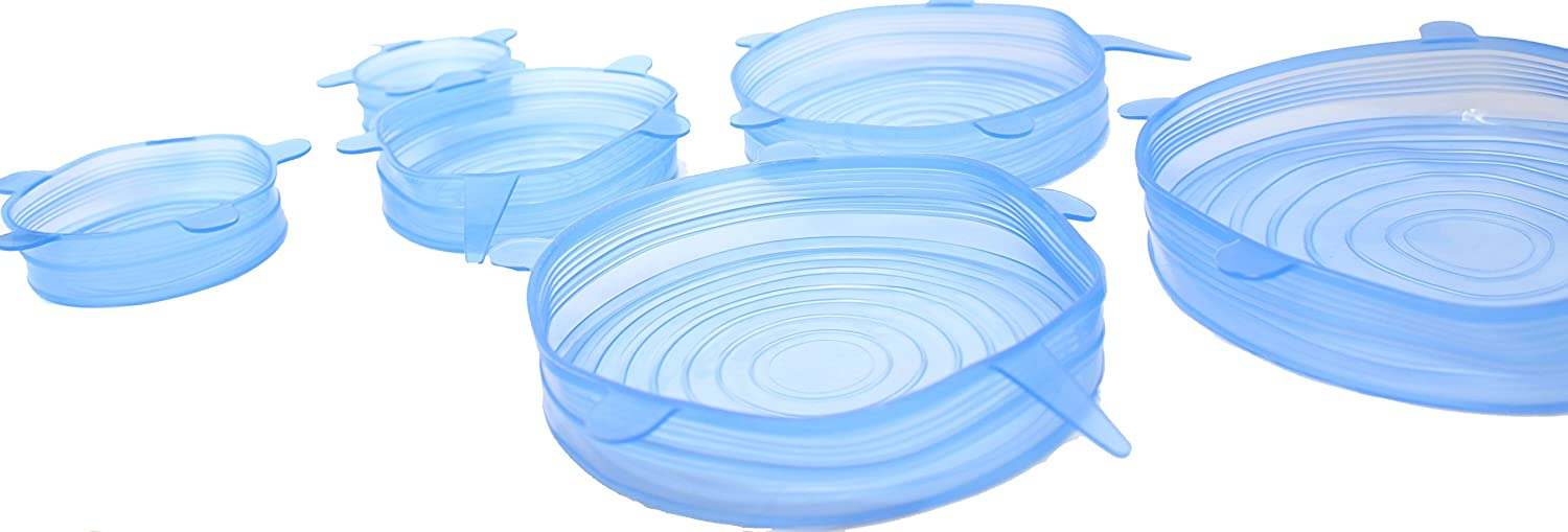 Set of 6 Silicone Storage Container Lids - High Quality Stretch Silicone Lids for All Containers - Fits Drinking Glasses Pyrex Bowls Cups Cans Perfectly - Microwave Safe - Money Back Guarantee