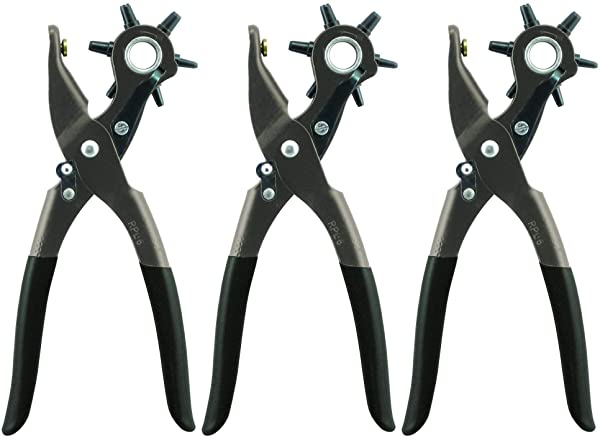 General Tools 72 Leather Hole Punch Tool, 5/64 Inch to 3/16 Inch 3 Pack