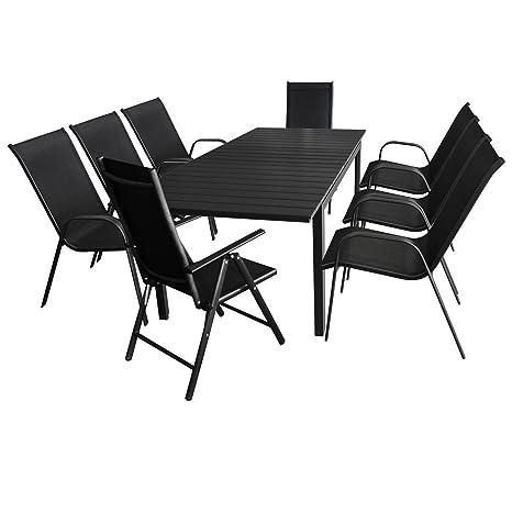 9tlg. Gartenmöbel Set - Aluminium Ausziehtisch, 160/210x95cm, Polywood Tischplatte + 6x Gartenstuhl, stapelbar + 2x Hochlehner, klappbar, 7-fach verstellbar - Gartengarnitur Terrassenmöbel Sitzgruppe Sitzgarnit