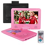 2018 Upgraded 9.5-Inch Portable DVD Player with Headrest Mount Holder, Headphone, Rechargeable Battery, 270°Swivel Screen, 5.9 ft Car Charger SD Card Slot and USB Port - Pink (Color: Pink, Tamaño: 9.5'')