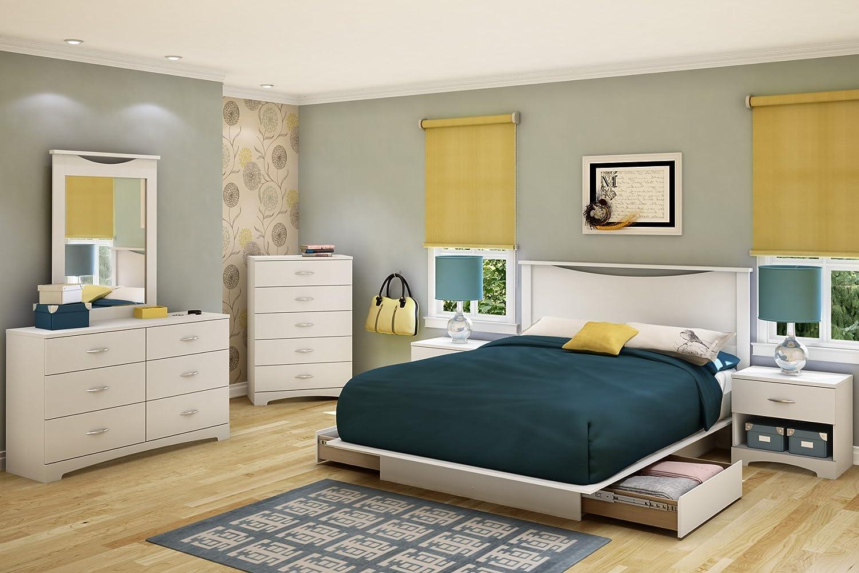 4pc Queen Size Platform Bedroom Set In Mahogany Finish