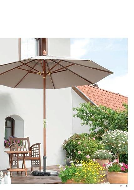 300cm x 300cm diámetro-Exclusivo-Madera de sol pantalla-100% poliéster 230g/m² aprox-sin cenefa, con apertura de viento, piel amplificación, incluye funda-&n