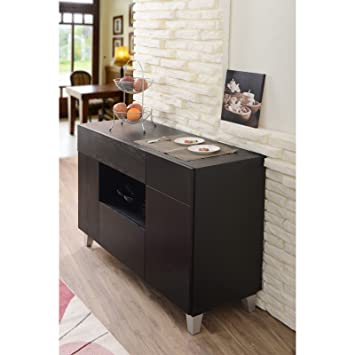 Buffet Tables Are Modern Furniture Center Pieces for Entertainment to Place Unique Dinnerware. Contemporary Style Dining Room or Living Room Sets Are a Must Have for Every Party. This Black Server Has Multi-storage Compartments, Is Sturdy and Durable