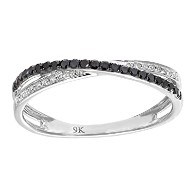 Naava 9 ct White Gold 0.23ct Black and White Diamond Kiss Ring - Size L