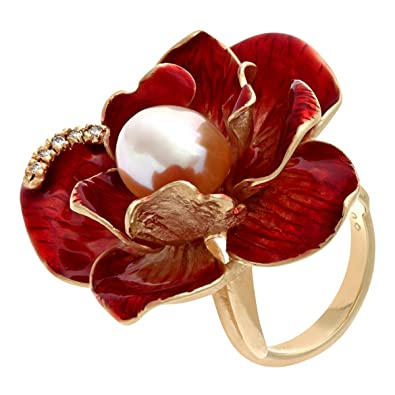 Citerna Yellow Gold Plated Silver, Pearl and Red Enamel Large Flower Ring - Size A