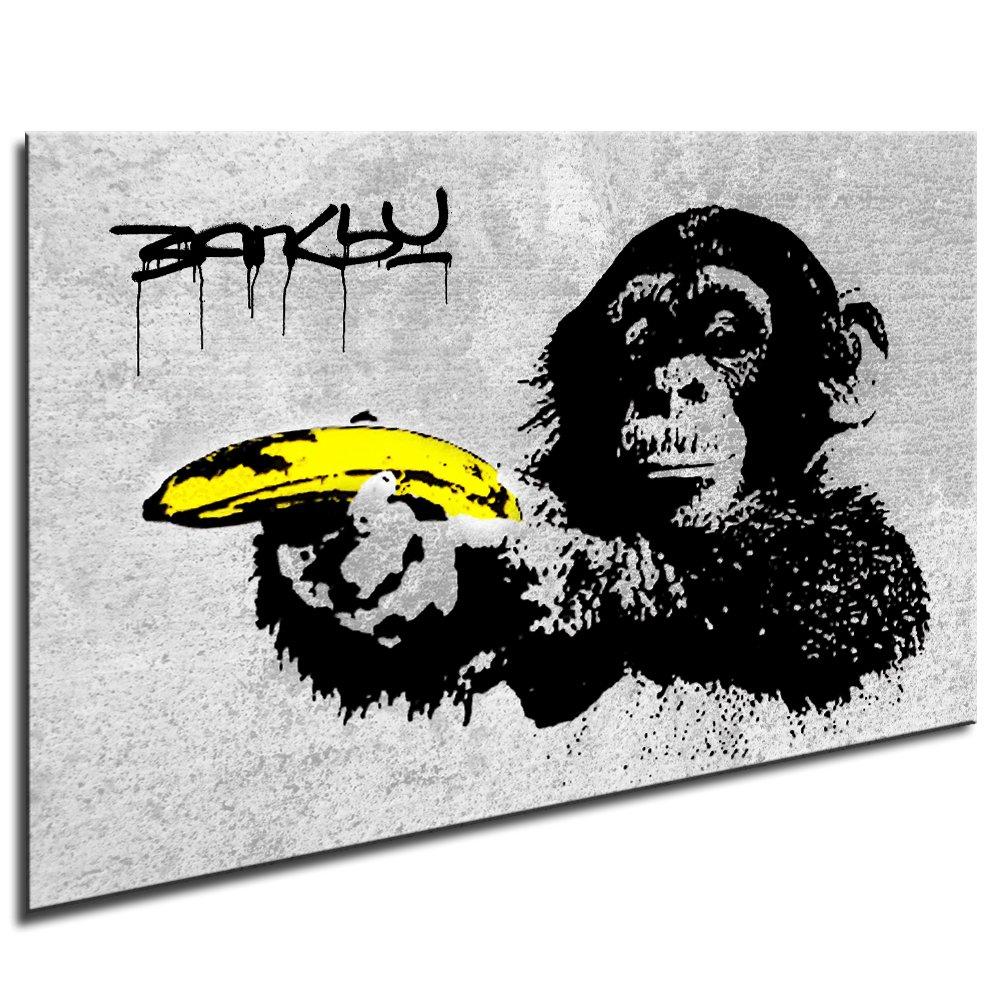 fotoleinwand24 bild auf leinwand banksy graffiti art monkey banana xxl wandbilder und. Black Bedroom Furniture Sets. Home Design Ideas