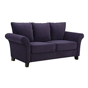 Handy Living Milan Sofa, Plum Velvet