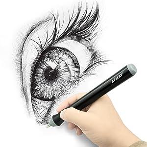Electric Eraser Kit, AFMAT Electric Drawing Erasers for Artists, 180 Refills, Drafting Brush, Battery Operated Eraser for Sketching Pencils/Pentel Drafting Pencil/Derwent Graphite Pencils/Arts/Crafts (Color: Black)