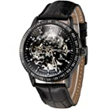Carrie Hughes Men's Steampunk Automatic Watches Self-Winding Mechanical Skeleton Stainless Steel Leather Watch CH224