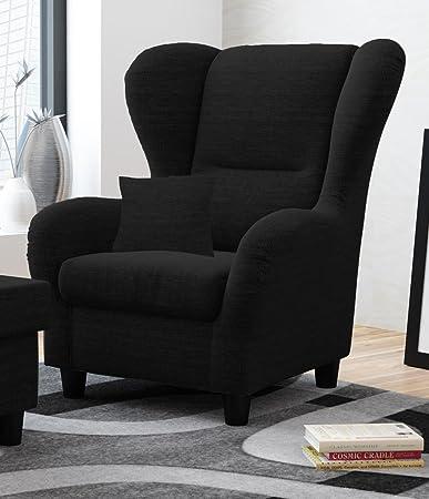 Sessel, Ohrensessel, schwarz Strukturstoff, Zierkissen B/H/T 90/98/76 cm