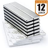 DIYMAG Strong Neodymium Bar Magnets with Double-Sided Adhesive, Rare Earth Neodymium Magnet - 60 x 10 x 3 mm, Pack of 12