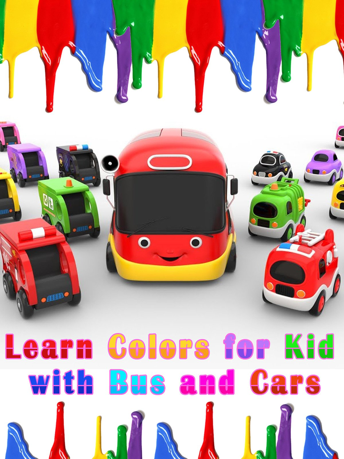 Learn Colors for Kid with Bus and Cars