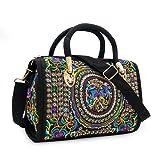 Embroidered Ethnic Tote Bag for Women Casual Shoulder Bag Canvas Multicolor Boho Handbags Vintage Cross Body Bag for Ladies