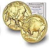 2020 1 oz Gold Buffalo in Coin Flip with CoinFolio COA $50 Brilliant Uncirculated