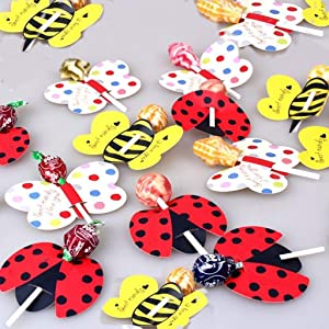 Ladybird Lollipops Cards,Super Cute Insect Candy Lollipop Perfect for Baby Shower, Wedding and Birthday Party Decoration-(Approx.50PCS) (Color: Ladybird)