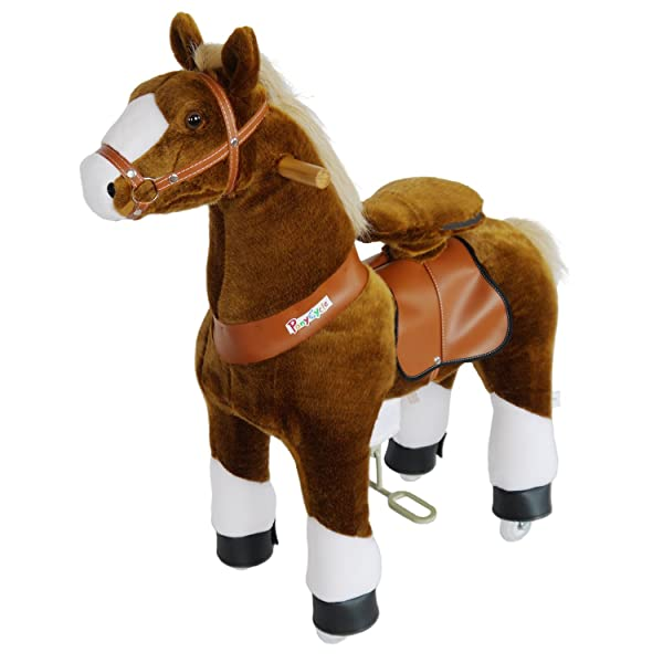 PonyCycle Official Riding Horse Toy No Battery No Electricity Mechanical Pony Brown with White Hoof Giddy up Pony Plush Walking Animal for Age 3-5 Years Small Size - N3151 (Color: Brown Horse With White Hoof)