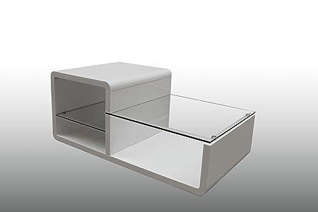 Couchtisch Glastisch Glas Hochglanz Weiß Wohnzimmertisch 110x60x45 cm