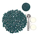 Sealing Wax Beads, Yoption 150 Pieces Heart Shape Wax Seal Beads with a Wax Melting Spoon and 2 Pieces Candles for Wax Seal Stamp (Peacock Blue) (Color: Peacock Blue)