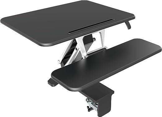 Sit-stand Desktop Computer Workstation, FOINNEX Healthy Big Size Height Adjustable Standing Desk Converter with Retractable Keyboard Tray With Clamp or Grommet Desktop.-S