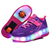 Roller Shoes Girls Boys Wheel Shoes Kids Roller Skates Shoes LED Light up Double Wheel Shoes(Purple/28/11 M US Little Kid) (Color: Purple 2wheels, Tamaño: 28/11 M US Little Kid)