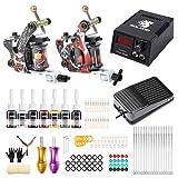 Solong Complete Tattoo Kit 2 Pro Coil Tattoo Machine Gun Professional Beginner Tattoo Kit 7 Color Inks Power Supply Foot Pedal TK216 (Color: TK216, Tamaño: TK216)