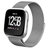 hooroor Compatible with Fit bit Versa Bands Women Men, Milanese Loop Stainless Steel Metal Sport Bracelet Strap Magnet Lock Wristbands Replacement for Fit bit Versa Smart Watch (Silver, Small) (Color: Silver, Tamaño: Small)