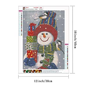 HaiMay 4 Pack DIY 5D Diamond Painting by Number Kits Full Drill Round Rhinestone Embroidery Pictures Arts Craft for Home Wall Decoration, Christmas Snowman(12 x 16 inch) (Color: Christmas Snowman)