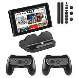PECHAM Accessory Kit Nintendo Switch Joy-Con Comfort Grip, Nintendo Switch Console Charging Dock Stand, Dustproof Set kit (Black) (Color: Black)