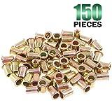 Keadic 150Pcs Metric Zinc Plated Carbon Steel Rivet Nut Flat Head Threaded Insert Nutsert Kit (M6) (Tamaño: M6)